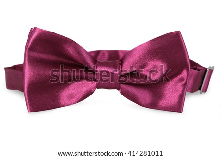 A purple bow Tie, isolated on white background - stock photo