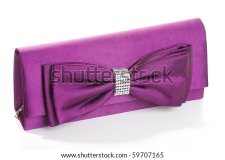 a purple clutch with bow and diamonds.