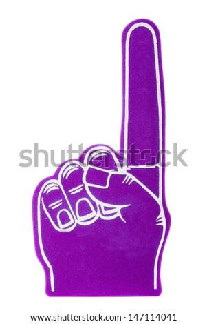 a purple foam fan finger on a white background - stock photo