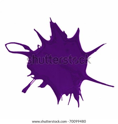 a purple paint splatter isolated on white background - stock photo