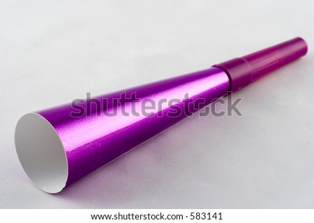 A purple party horn.