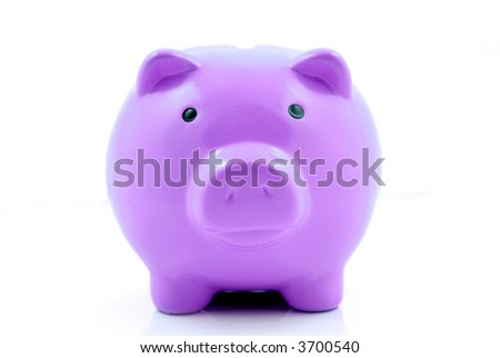 A purple piggy bank for coin deposits - stock photo