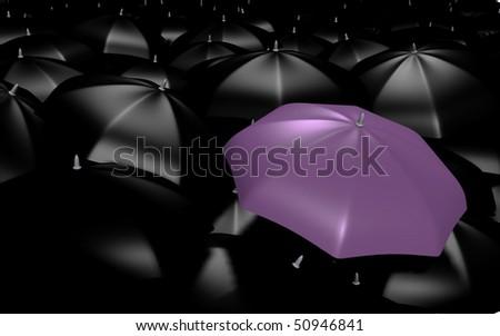 A purple umbrella among the rest - 3d image - stock photo