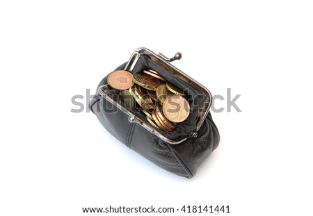 A purse filled with euro coins - stock photo