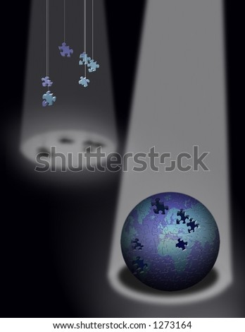 A puzzle globe and missing pieces in spotlights - stock photo