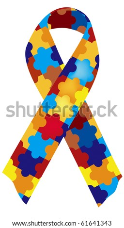 a puzzle patterned ribbon symbolizing autism awareness - stock photo