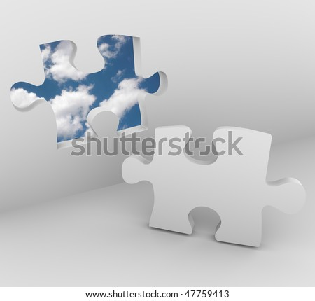 A puzzle piece in a wall opens up to blue sky with clouds - stock photo