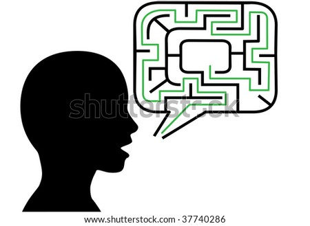 A puzzled person silhouette talks in maze puzzling speech bubble solution. - stock photo