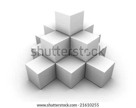 A pyramid made of similar gray boxes on white background. For other similar images from the series, please, check my portfolio. - stock photo