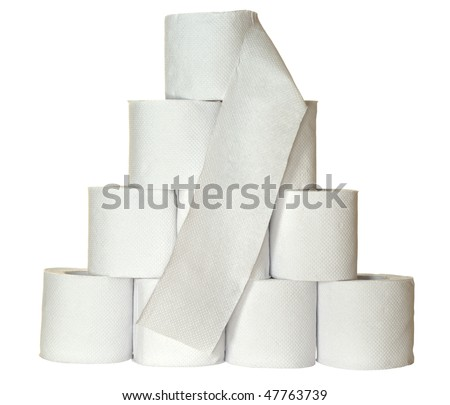 A pyramid made of ten rolls of toilet paper - stock photo
