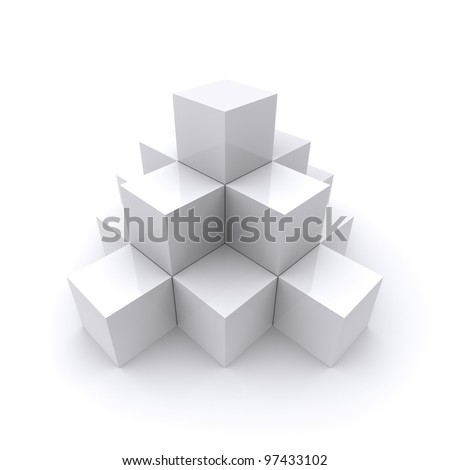 A pyramid made up of white cubes - stock photo