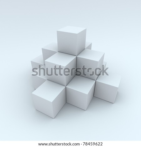 A pyramid made up of white cubes. Abstract background - stock photo