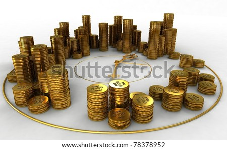 a pyramid of coins on the clock - stock photo