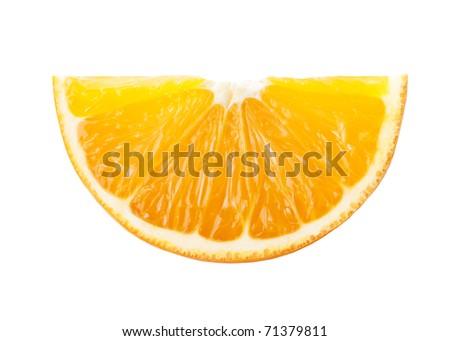 A quarter of orange isolated on white background - stock photo