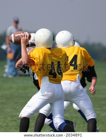 A quarterback gets ready to pass - stock photo