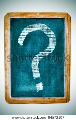 a question mark drawn in an old fashioned blackboard - stock photo