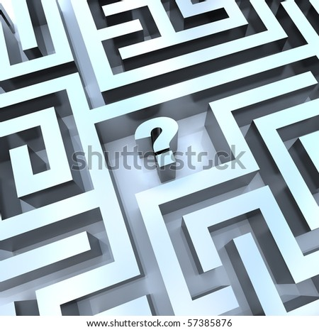A question mark in the middle of a maze, symbolizing the need to search for an answer - stock photo
