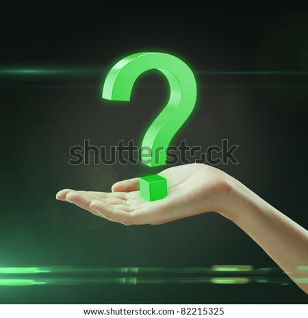 A question mark on a woman's hand. - stock photo