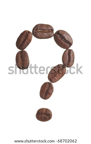 A question mark spelled in coffee beans, isolated on a white background. Macro resolution.