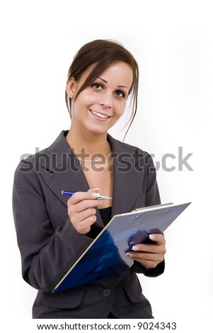 A questioner girl with folder in hand