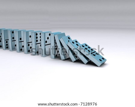 A queue of falling chrome dominoes - stock photo