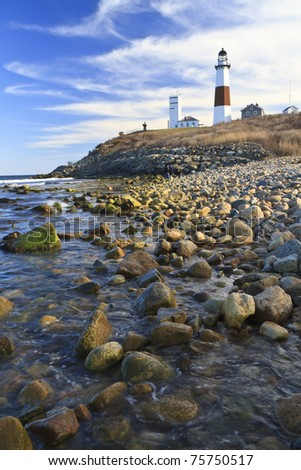 A quiet, sunny afternoon on Montauk Point - stock photo