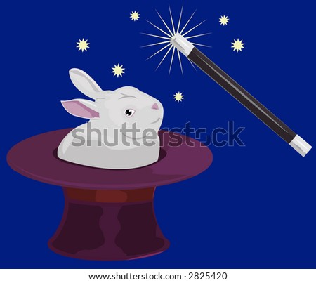 A rabbit appearing out of a tophat and a magic wand. Raster version - stock photo