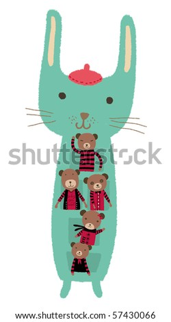 A rabbit painter with 5 cute bears. - stock photo