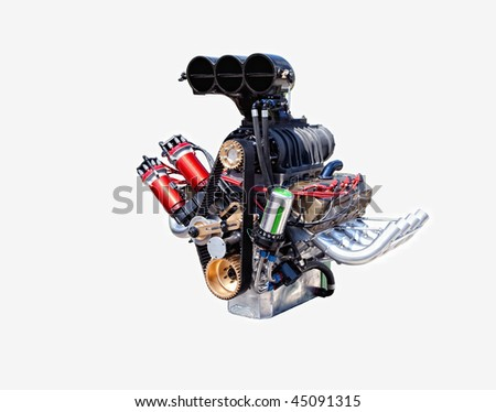 A racing engine isolated on a white background. - stock photo