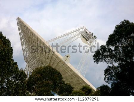 a radio telescope dish - stock photo