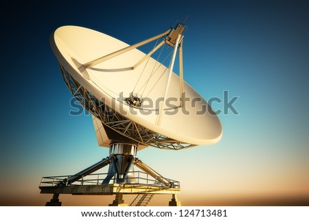A radio telescope is a form of directional radio antenna used in radio astronomy. - stock photo