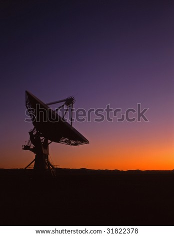 A radio telescope part of the VLA, Very Large Array, in New Mexico. - stock photo