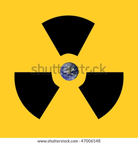A radioactive sign surrounding earth. Earth picture from Nasa.