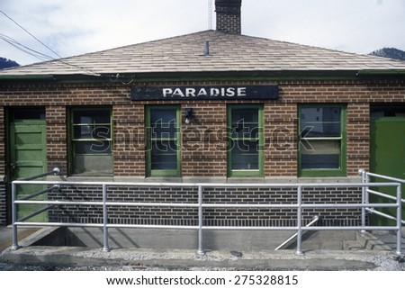 A railroad station in Paradise, Montana - stock photo