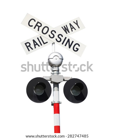 A Railway Crossing Sign isolated on white. - stock photo