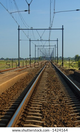 A railway in the netherlands - stock photo