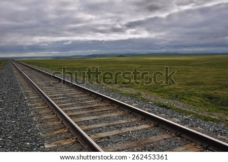A railway in the tundra to the Bovanenkovo gas-field. Yamal Peninsula, Russia.