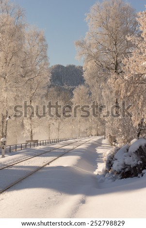 A railway in the winter - stock photo