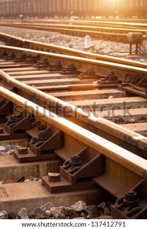 A railway track switch - stock photo
