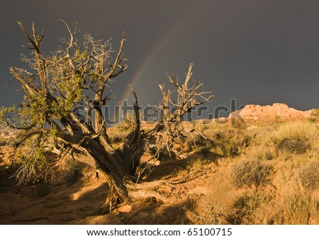 A  rainbow appears after a rainstorm passes over the sandstone formations in Arches National  Park near Moab Utah. - stock photo
