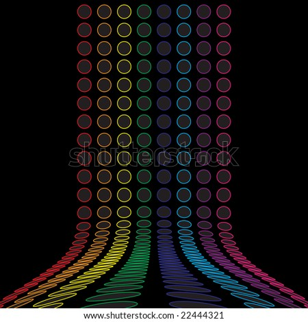 A rainbow colored abstract design template with rows of colorful rings. - stock photo