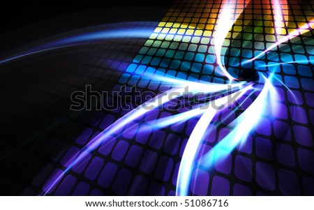 A rainbow colored digital wall or display screen with reflections and plenty of copyspace. - stock photo