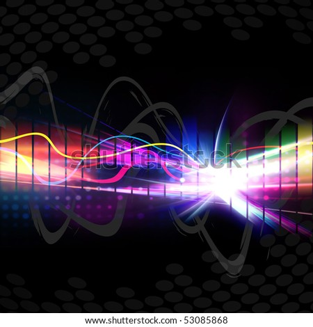 A rainbow colored graphic equalizer wave form isolated over a black background. - stock photo