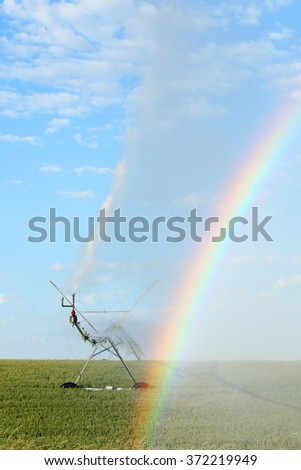 A rainbow created by a center pivot sprinkler used to irrigate a wheat field. - stock photo