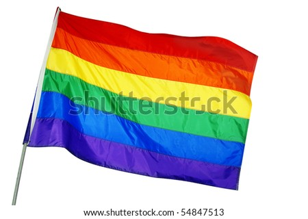 a rainbow flag waving on a white background - stock photo