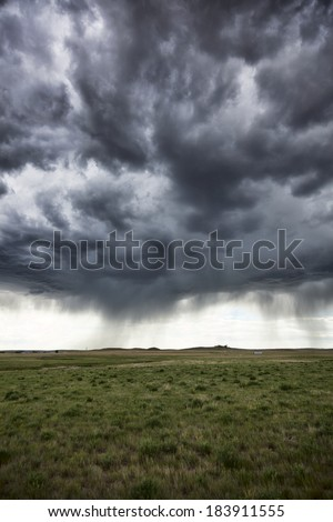 A rainstorm moving across the Great Plains in Central Wyoming.