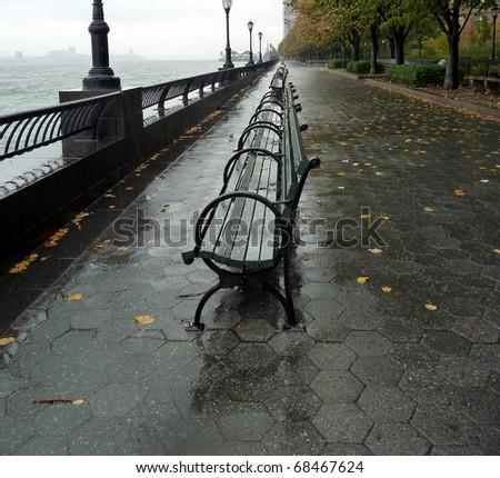 A Rainy Day At The Promenade In Brooklyn NY - stock photo