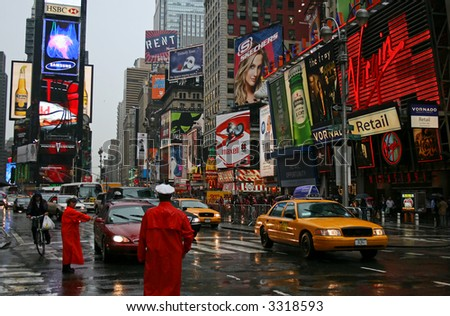 A rainy day in the Times Square, Manhattan