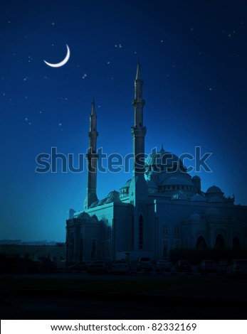 A ramadan moon and the mosque. - stock photo