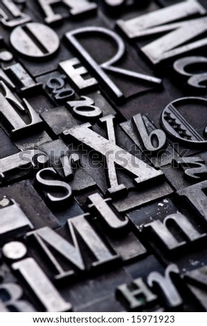 A random arrangement of letterpress letters with narrow depth of field. Part of a series of letterpress backgrounds - stock photo
